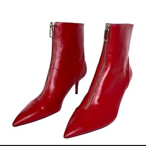 Zara | Red Leather booties